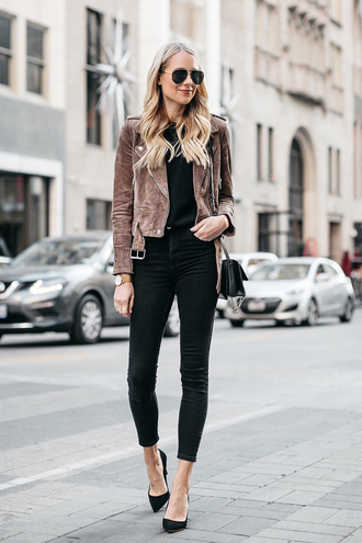 fashionjackson blogger jacket sweater jeans shoes bag sunglasses jewels suede jacket black jeans pumps winter outfits