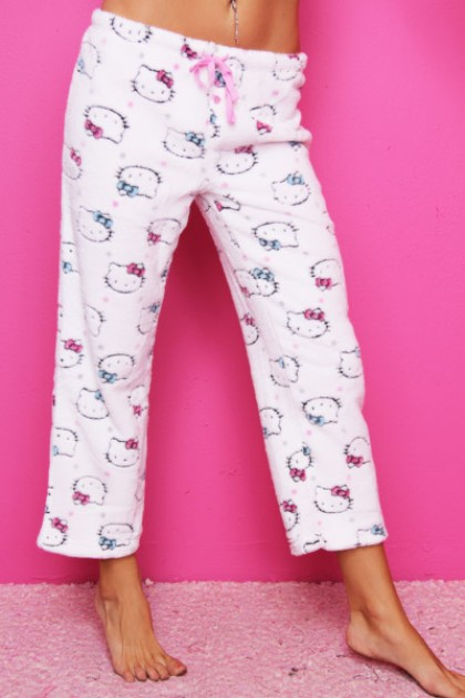 WHITE CROPPED FLEECE HELLO KITTY DRAWSTRING PAJAMA PANTS - £22.99 :