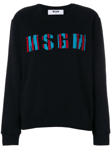 MSGM - sequin logo sweater - women - Cotton - M, Black, Cotton