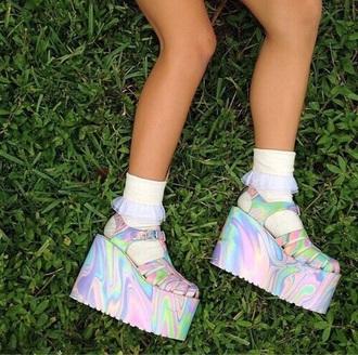 shoes kawaii platfor grunge holographic shoes high platforms silver