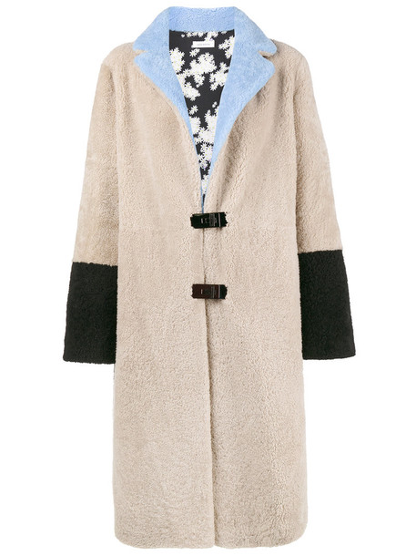 Saks Potts coat fur fox women wool purple pink beige