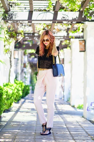 shoes top jewels pants bag sunglasses late afternoon
