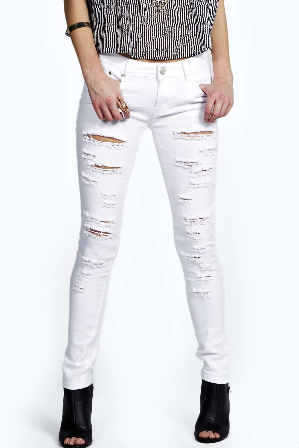 Low Rise Extreme Shredded Skinny Jeans