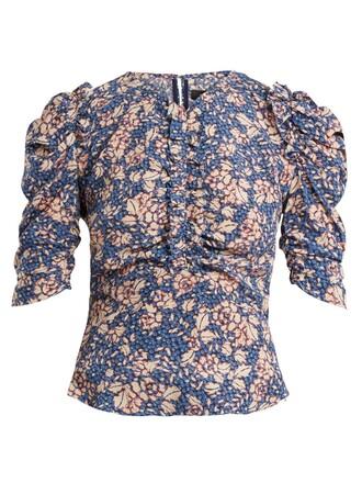 top ruffle floral print silk blue