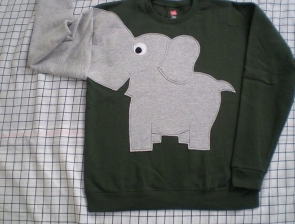 elephant sweater grey and black