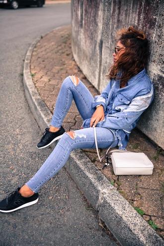 trop rouge blogger jacket top jeans bag shoes sunglasses jewels denim ripped jeans