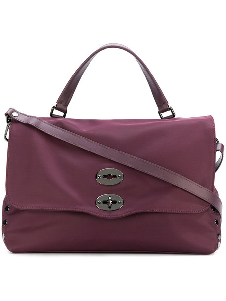 Zanellato - flip lock tote - women - Leather/Polyamide - One Size, Pink/Purple, Leather/Polyamide