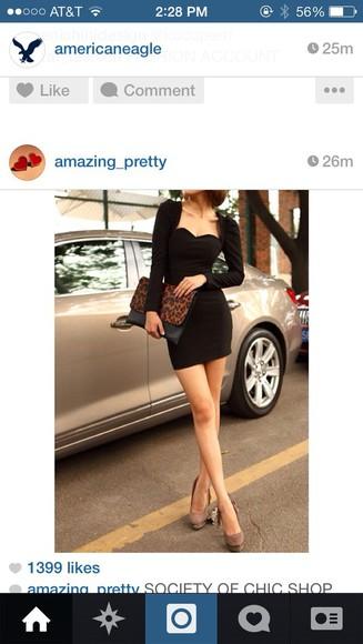 short dress dress black black dresses elegant long sleeve dress
