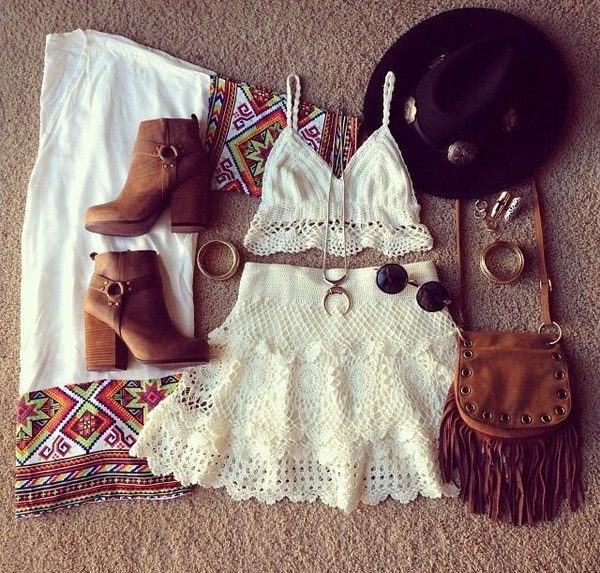 skirt t-shirt tank top bag hippie shoes sweater sunglasses