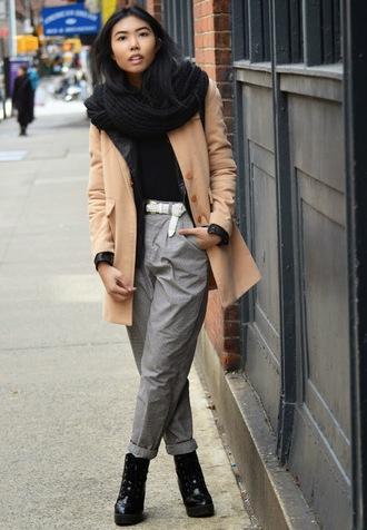 fashion of a novice blogger camel coat grey pants