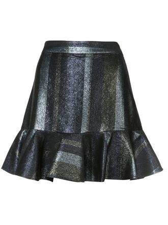 skirt ruffle women cotton grey metallic