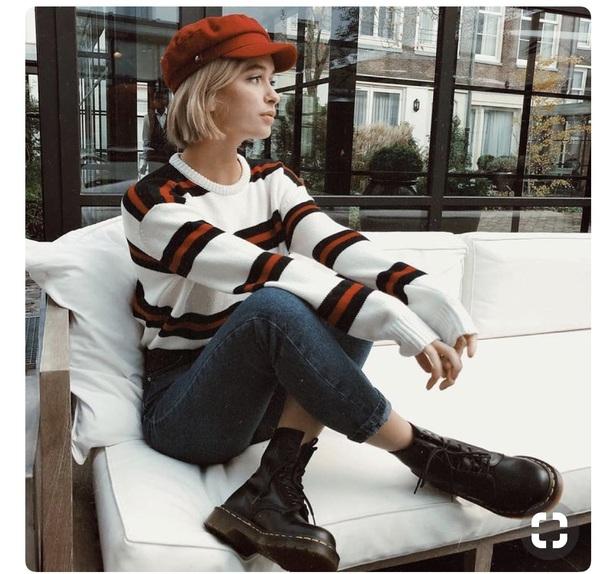 sweater red stripes white black