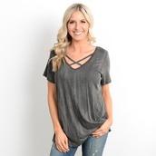shirt,black,marled,t-shirt,criss cross,short sleeve,spring,summer,outfit,28719