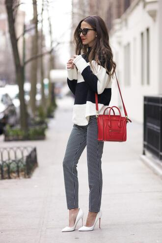 something navy blogger pants red bag striped sweater gingham
