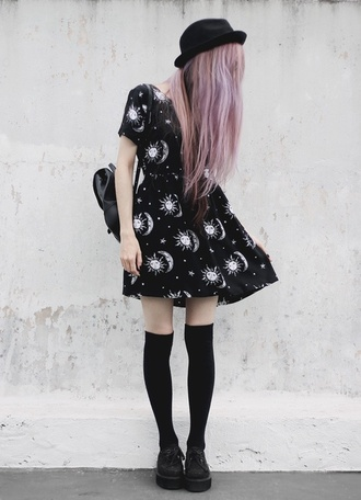 dress black white stars planets pale purple hair hat constellation knee high socks