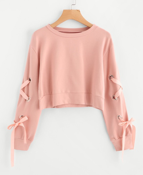 sweater girly pink sweatshirt crop cropped cropped sweater lace up
