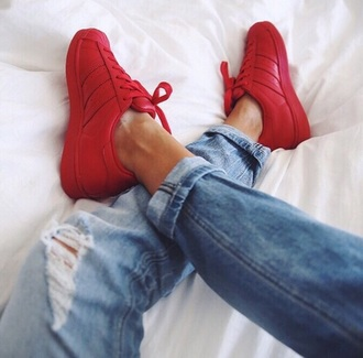 shoes all red shoes boy shoes girl shoes red adidas adidas superstars adidas supercolor red sneakers jeans &shoes