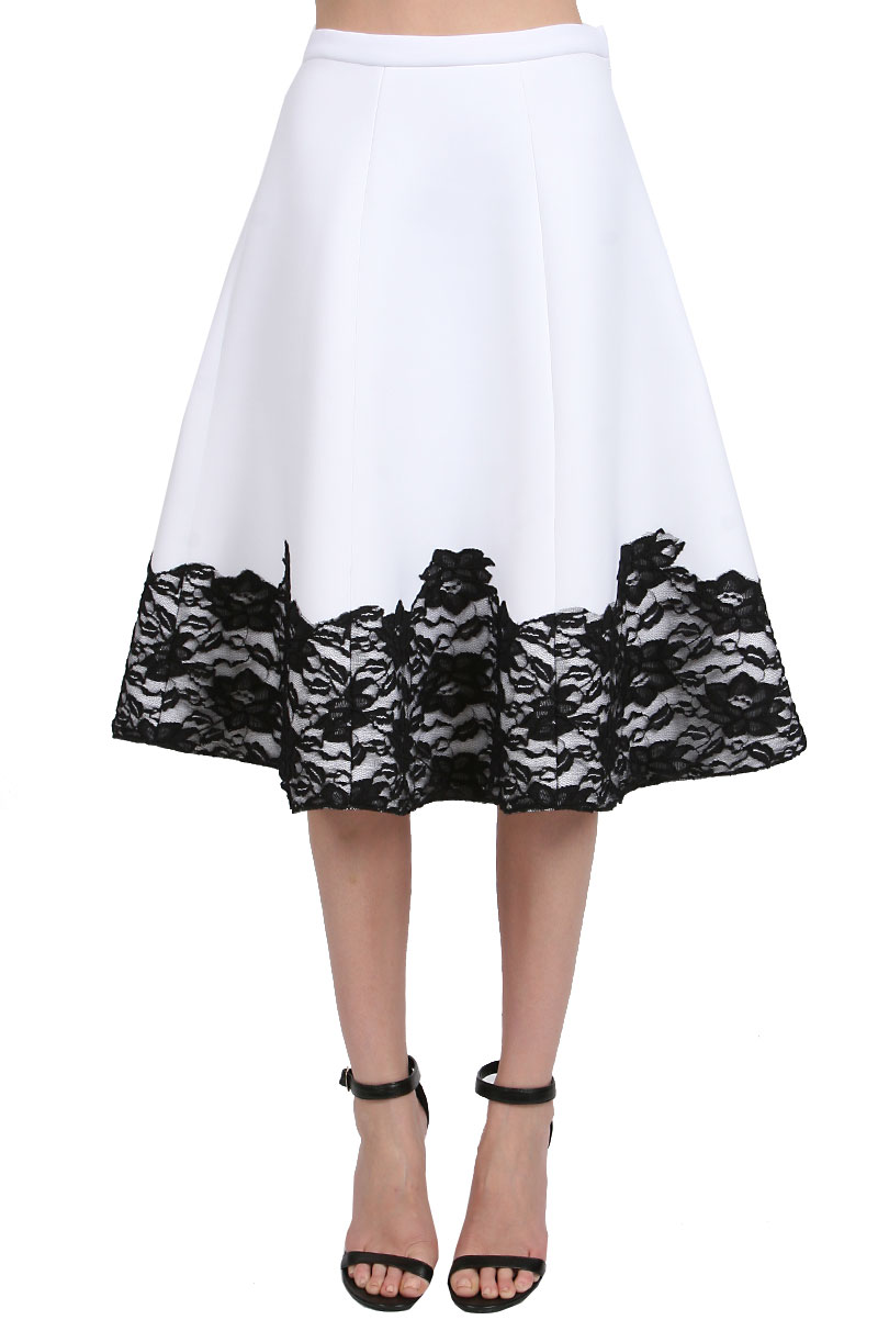 Sarah lace midi skirt in white/black: buy muehleder at couturecandy.com