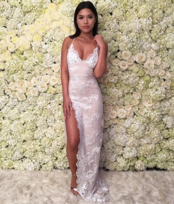 dress white lace dress maxi dress slit dress