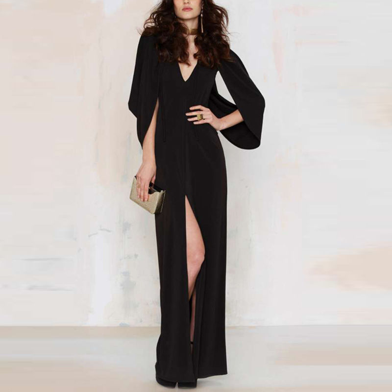 haoduoyi Womens Sexy Batwing Sleeve Off Shoulder Cape Evening Party Prom Dress