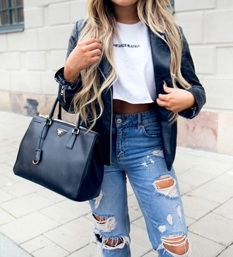blouse white leather jacket leather boyfriend jeans shirts with sayings quote on it jeans with rips blue blue jeans prada absolutely cute funny black white t-shirt white crop tops