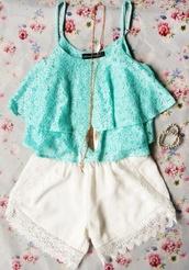 top,shorts,shirt,summer outfits,teal shirt,lace top