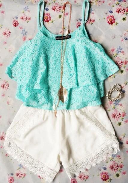 top shorts shirt summer outfits teal shirt lace top