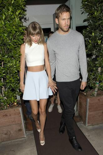 top skirt taylor swift pumps calvin harris crop tops summer outfits shoes
