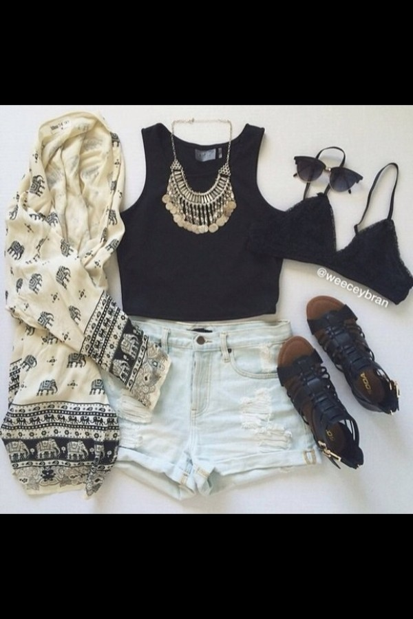 cardigan elephant white black top shorts shoes necklace sunglasses sandles bra pretty grunge clothes