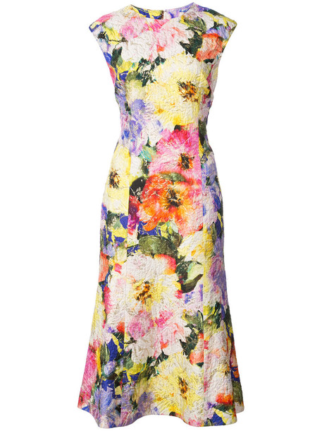Monique Lhuillier dress print dress women floral print silk