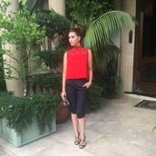 top,shiva safai,red top,sleeveless top,lace top,pants,black pants,capri pants,sandals,black sandals,bag,black bag,celebrity