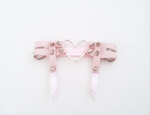 Double strap heart garter by creepyyeha on etsy