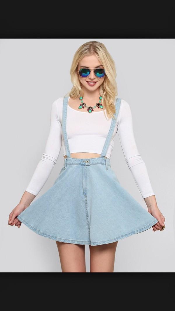 NWT Denim Suspender Overall Mini Skirt Size S-L