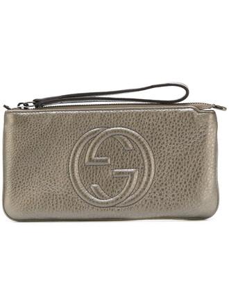 women pouch leather grey metallic bag