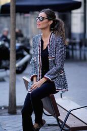 lady addict,blogger,jacket,jeans,top,blazer