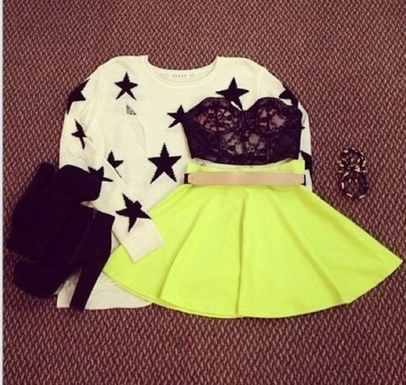skirt sweater circle skirt skrit neon yellow stars outfit cute shirt skater skirt lace bustier black crop tops dress