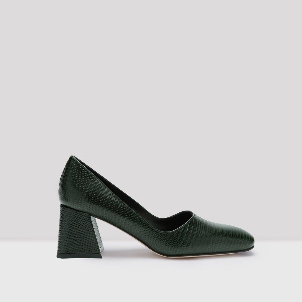 Aloisie Bottle Green Leather Heels