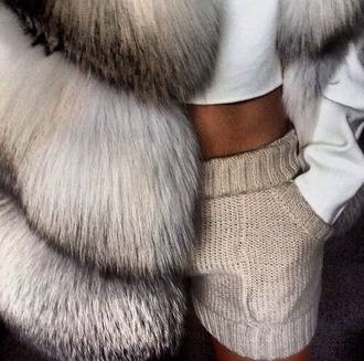 shorts taupe fur tanned white crop tops knitted fur vest girly shirt pants hot pants knitwear nude coat cute shorts knit shorts beige cream cools pants