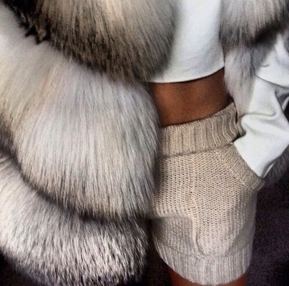 knitwear pants hot pants nude shorts taupe fur tanned white crop tops knitted fur vest girly