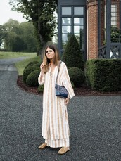 dress,long dress,stripes,shoes,bag