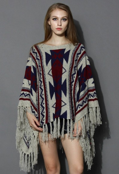 poncho knitwear top chicwish fringes aztec