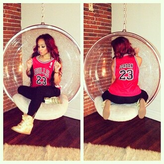 shirt jordan chicago bulls 23 jersey dope swag t-shirt red girl basketball