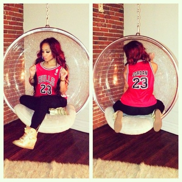 shirt jordan chicago bulls chicago bulls 23 jersey dope swag t-shirt red girl basketball