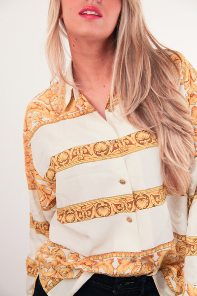 Versacesque gold shells printed blouse – glamzelle