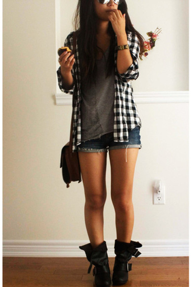 plaid shirt olive green flannel black and white combat boots shoes boots dress jacket bag shirt shorts denim shorts