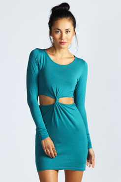 Wow Tasha Long Sleeve Knot Dress at boohoo.com