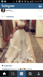 dress,two piece dress set,prom dress,bridal gown,wedding dress,white dress,gold sequins,gown,bejewled,white,diamonds,two-piece,prom,crop tops,prom dress white,disney,skirt,instagram,instagram dress,prom gown,long prom dress