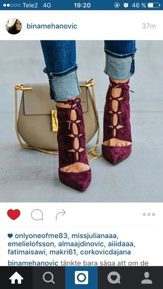 shoes purple shoes heels high heels high heel sandals sandals velvet shoes chloe chloe bag drew bag