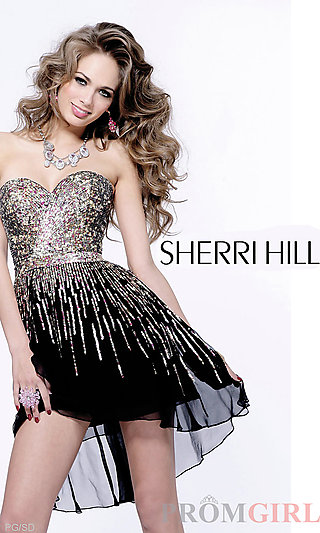 Short Strapless Sequin Dress, Sherri Hill Party Dresses- PromGirl