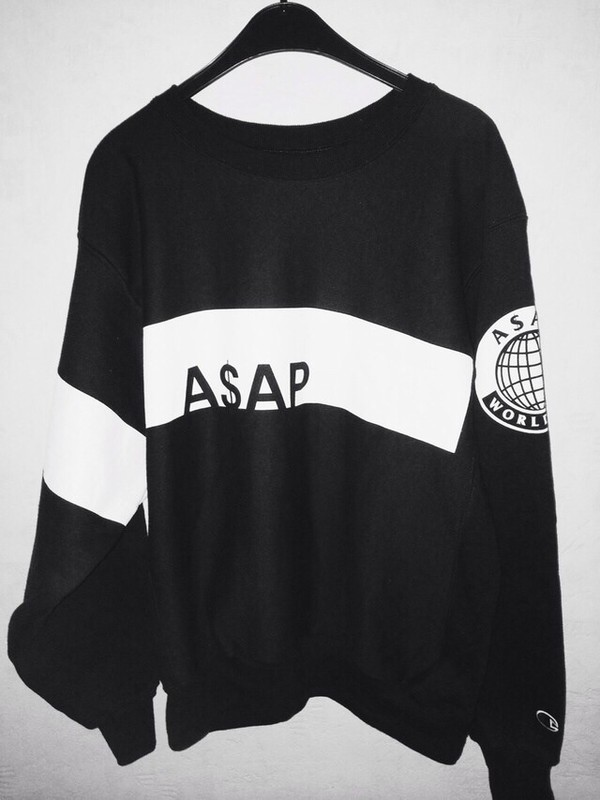 sweater logo ASAP Rocky black white international mens sweater asap sweatshirt